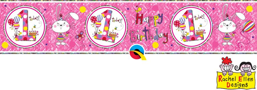 Age 1 Female Birthday Banner