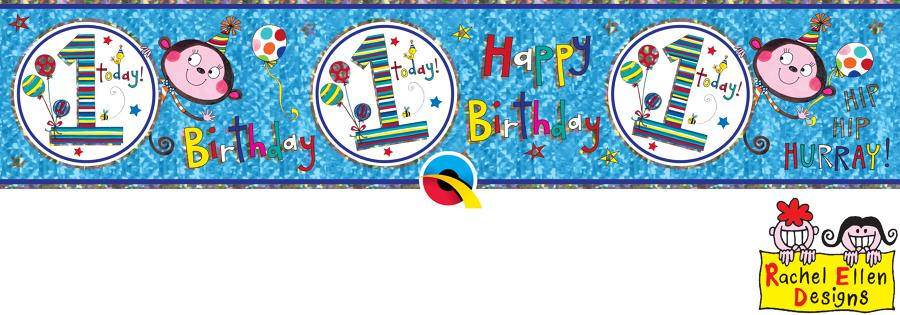 Age 1 Male Birthday Banner