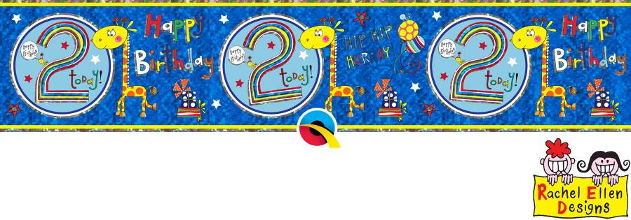 Age 2 Blue Birthday Banner