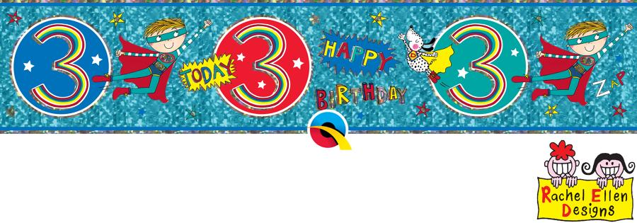 Age 3 Blue Birthday Banner