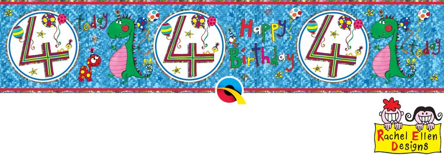 Age 4 Blue Birthday Banner