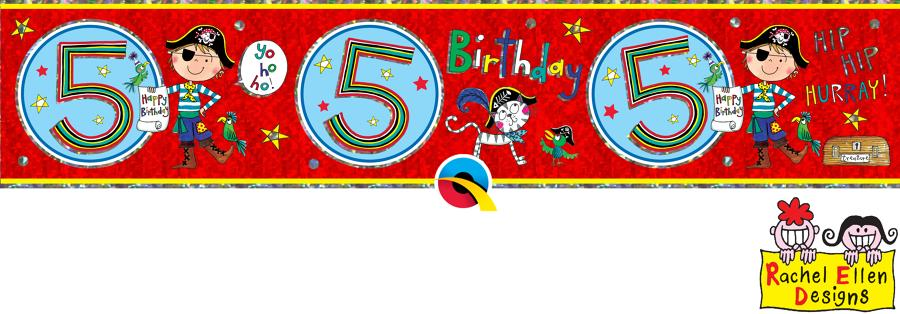 Age 5 Blue Birthday Banner