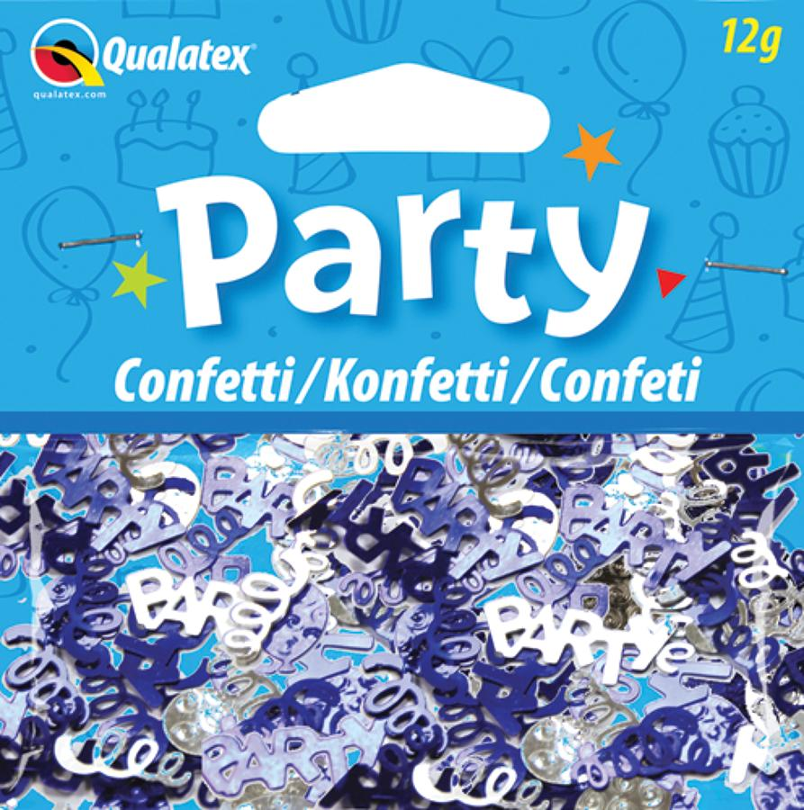 Party Swirls Blue and Silver Confetti