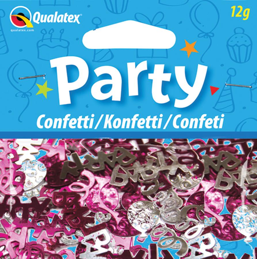 Party Swirls Pink and Silver Confetti