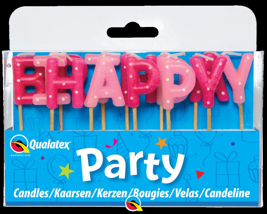 Happy Birthday Pink Pick Stick Candles