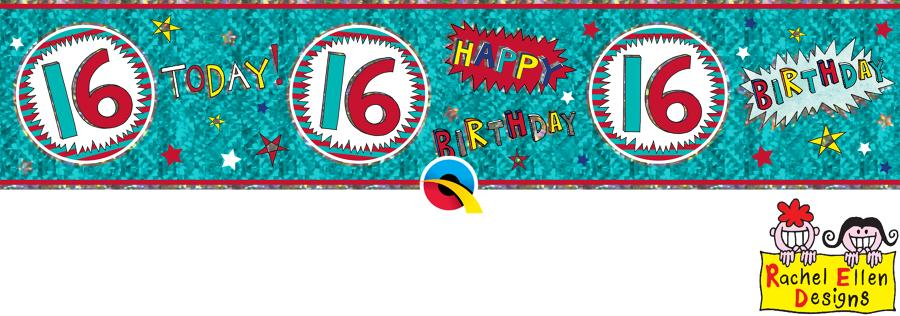 Age 16 WOW Birthday Banner