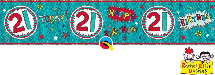 Age 21 WOW Birthday Banner