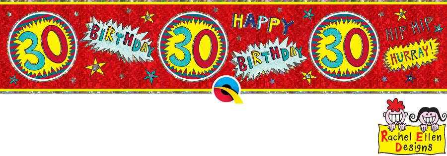 Age 30 WOW Birthday Banner