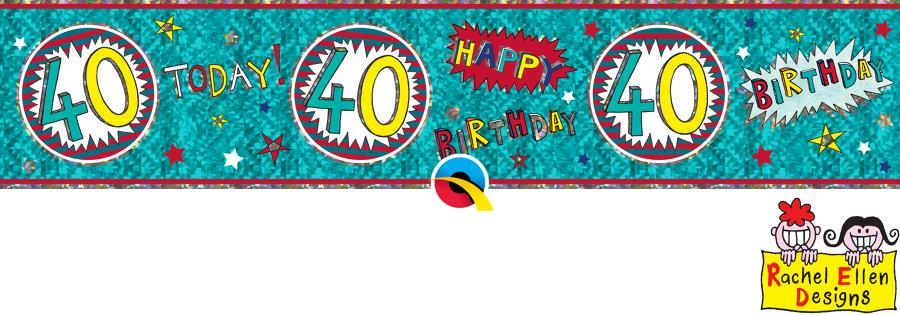 Age 40 WOW Birthday Banner