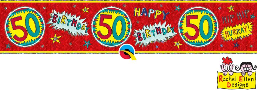Age 50 WOW Birthday Banner