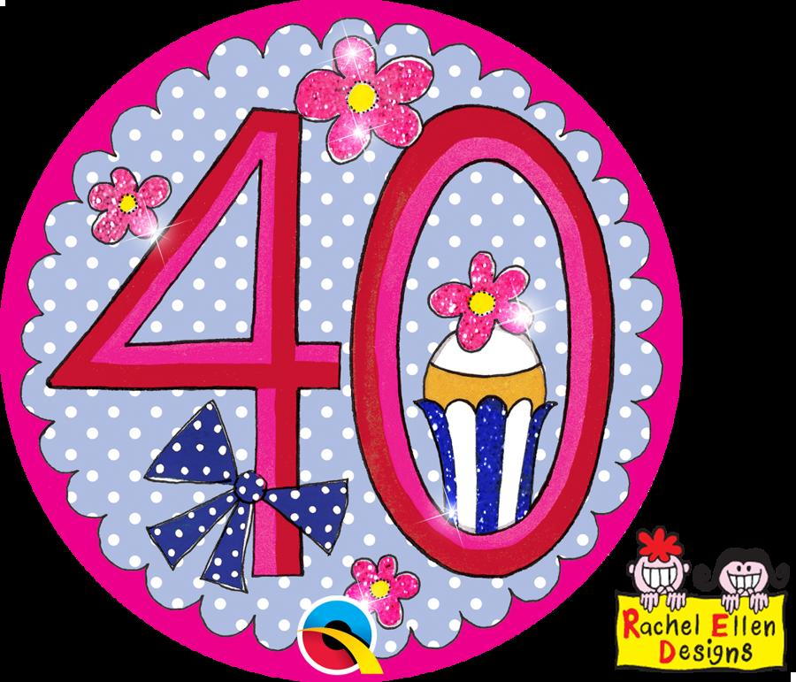 Age 40 Pink Giant Badge