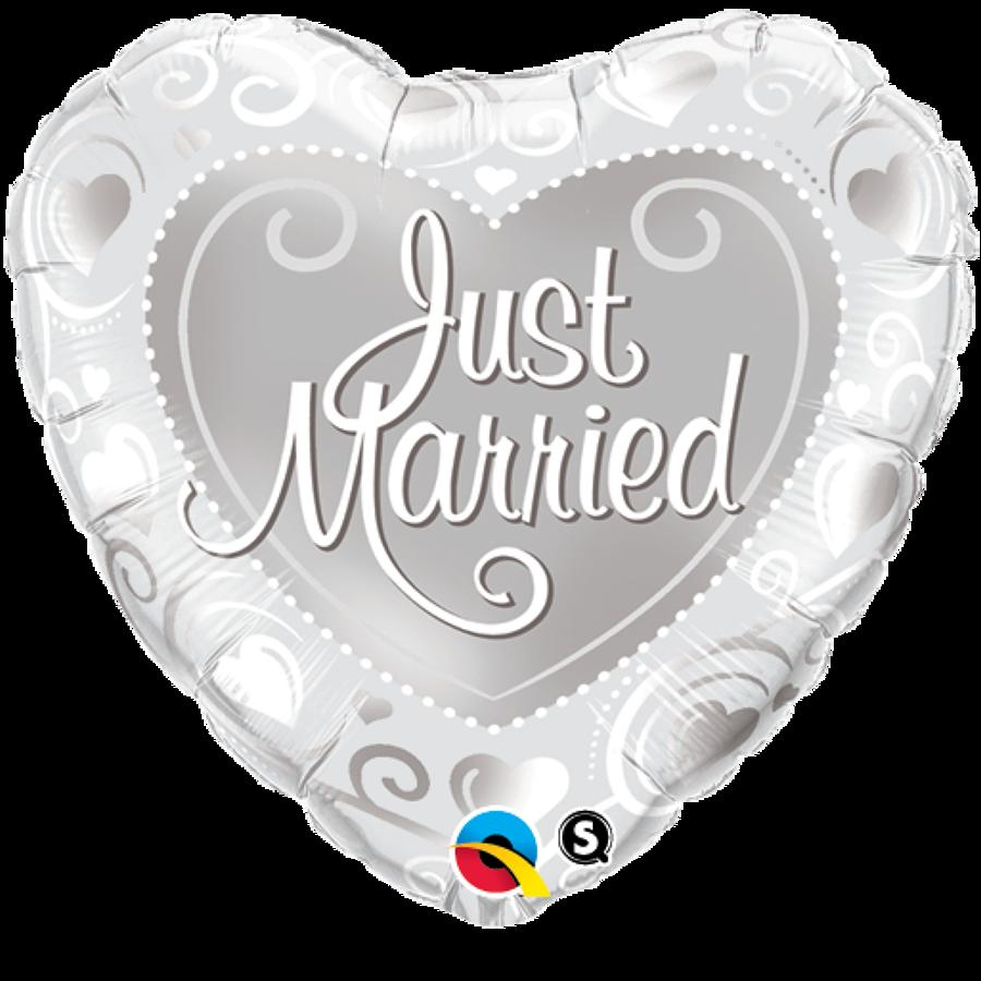 Just Married Hearts Silver Foil Balloon