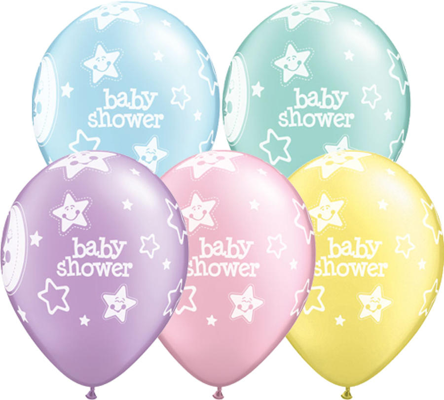 Baby shower moons and stars latex balloons