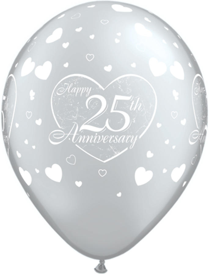 25th Anniversary Silver Hearts Latex Balloons