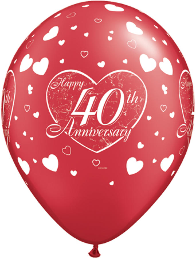 40th Anniversary Hearts Latex Balloons