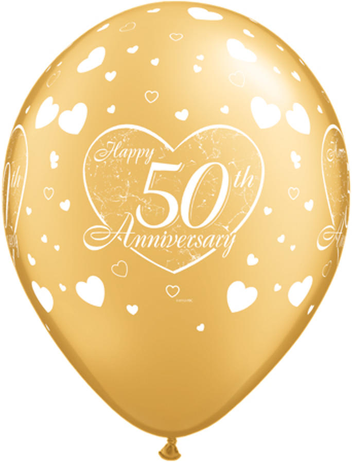 50th Anniversary hearts latex balloons