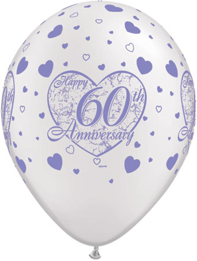60th Anniversary Hearts Latex Balloons