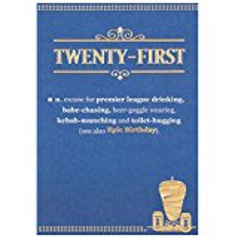 Twenty First Blue Birthday Card