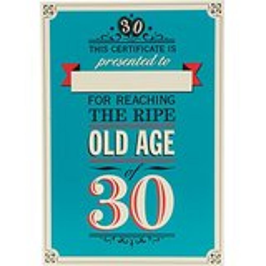 Age 30 Certificate Birthday Card