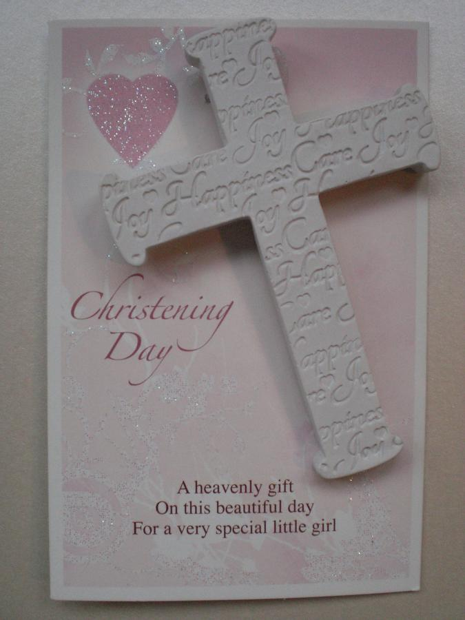 Christening Cross Hanging Keepsake Pink