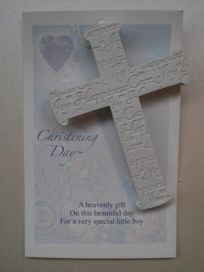 Christening Cross Hanging Keepsake Blue