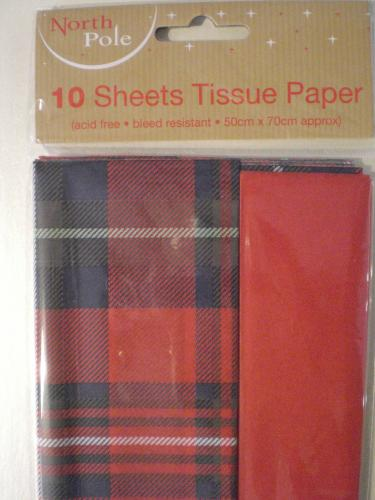 Tissue Paper Tartan and Red
