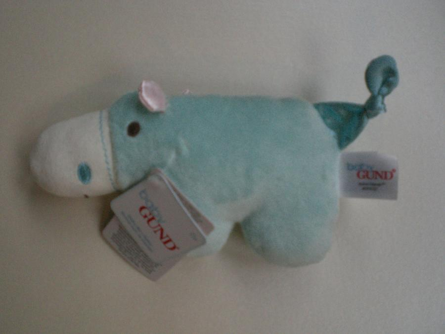 Mint green hippo rattle