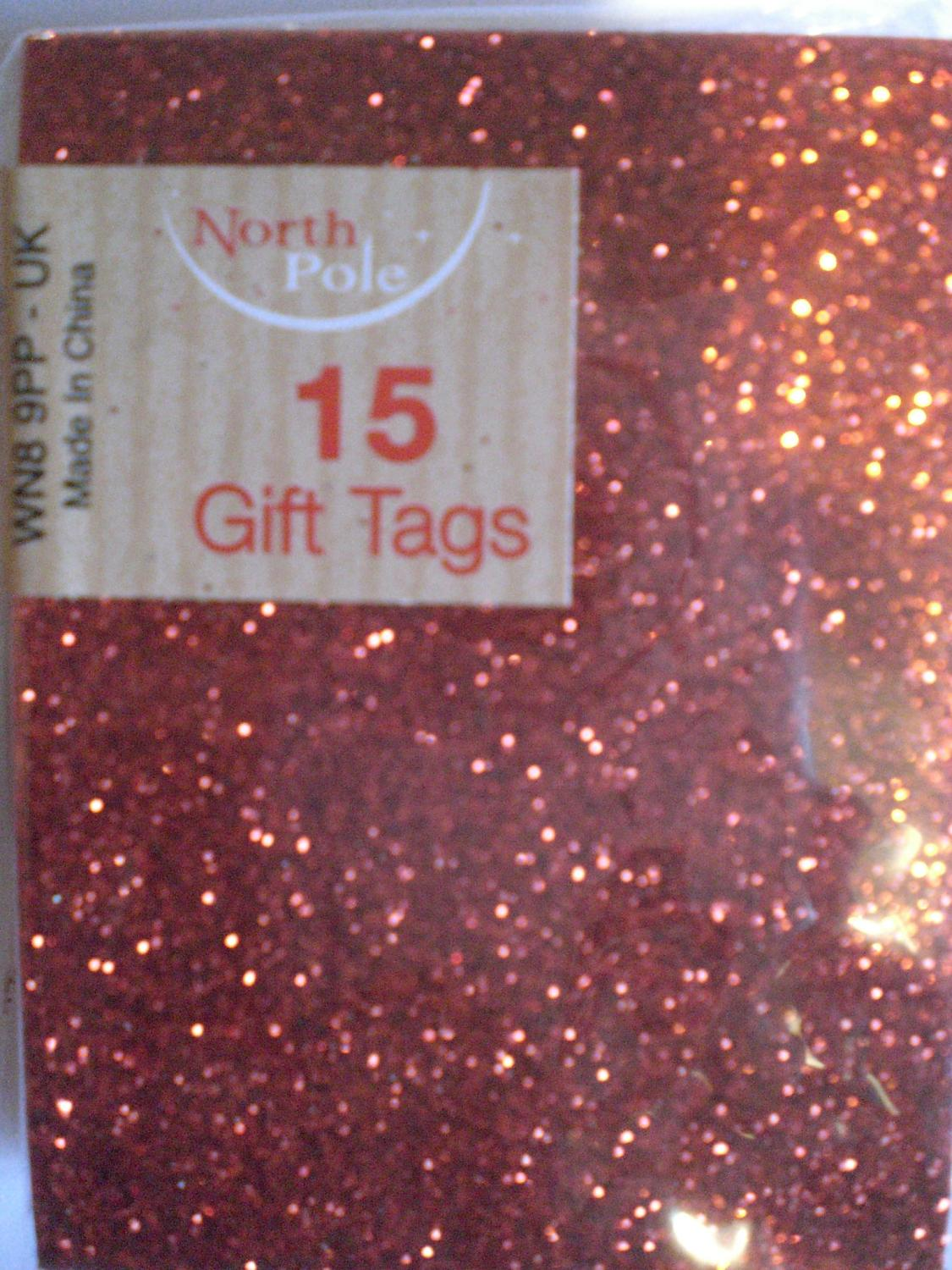 Gift tags red glitter