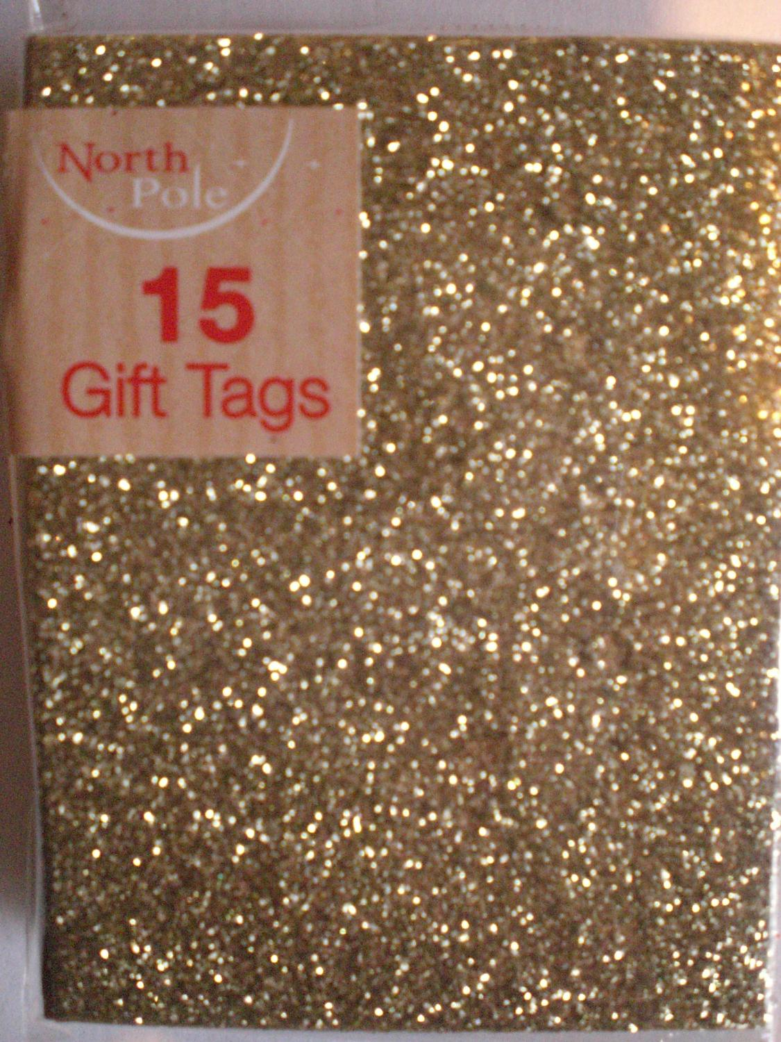 Gift tags gold glitter
