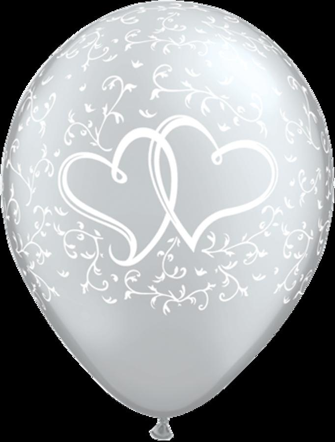 Silver entwined hearts latex balloons