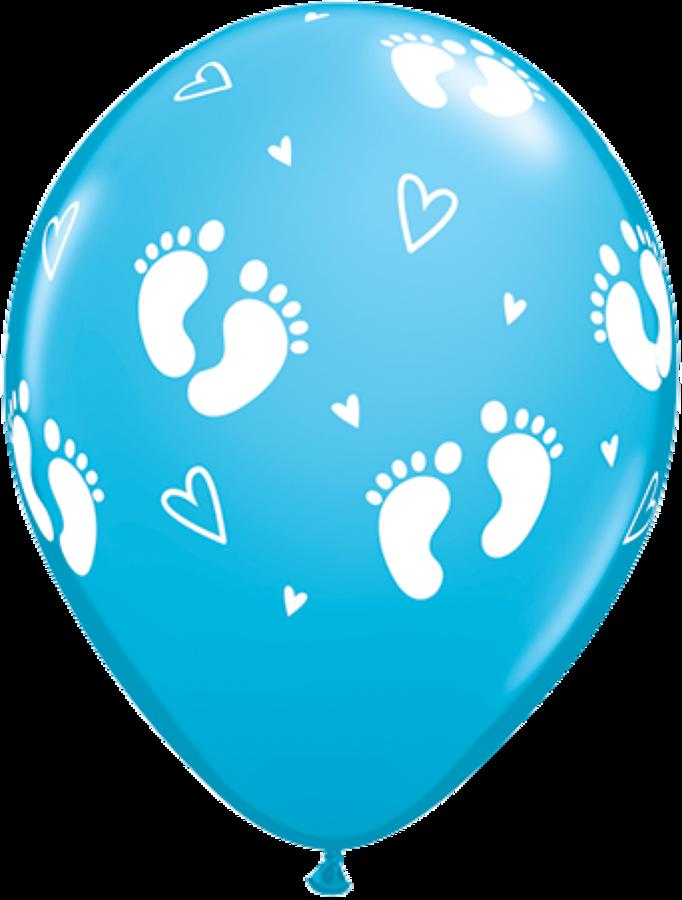 Baby footprints blue latex balloons