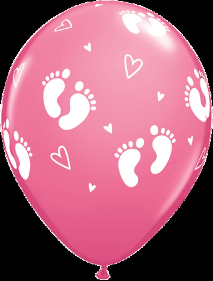 Baby footprints pink latex balloons