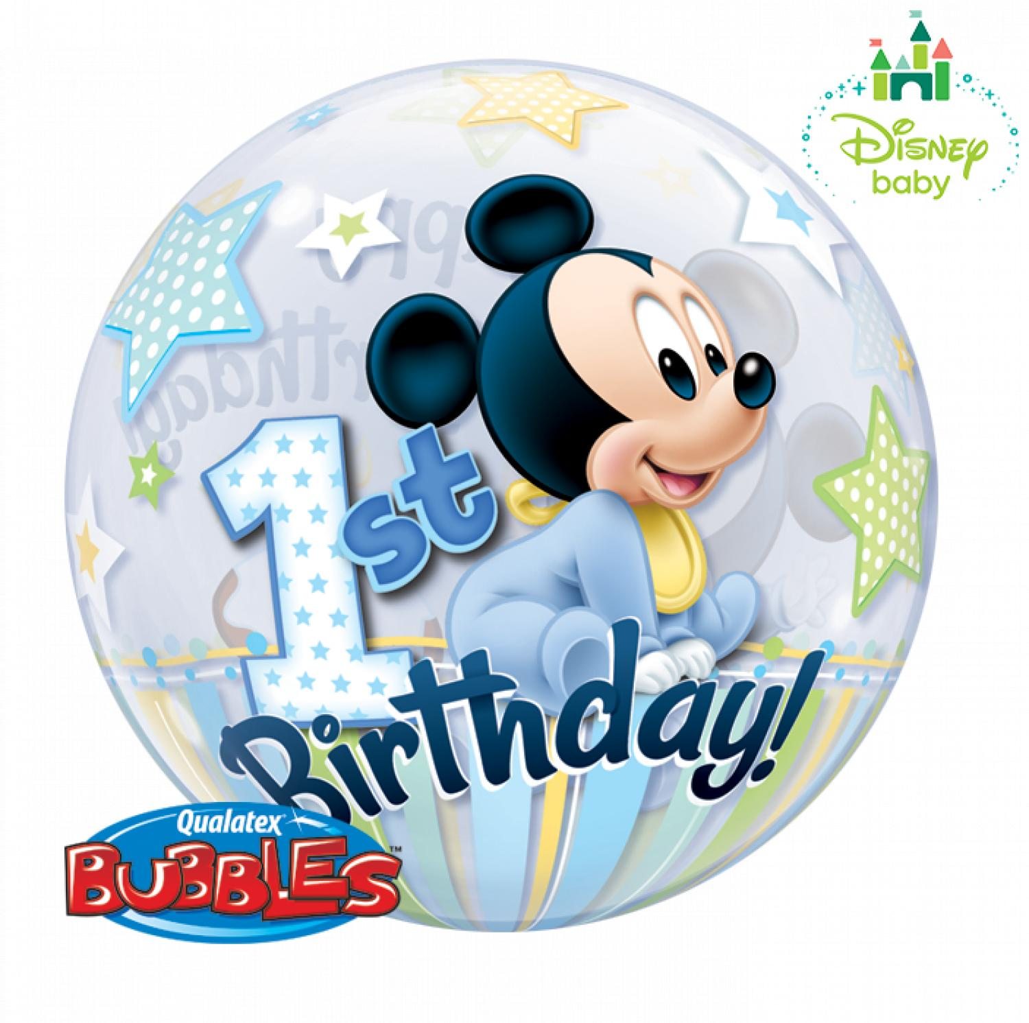 Disney mickey's 1st birthday bubble balloon