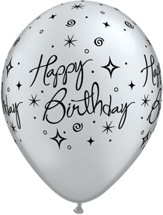 Happy birthday silver latex balloons