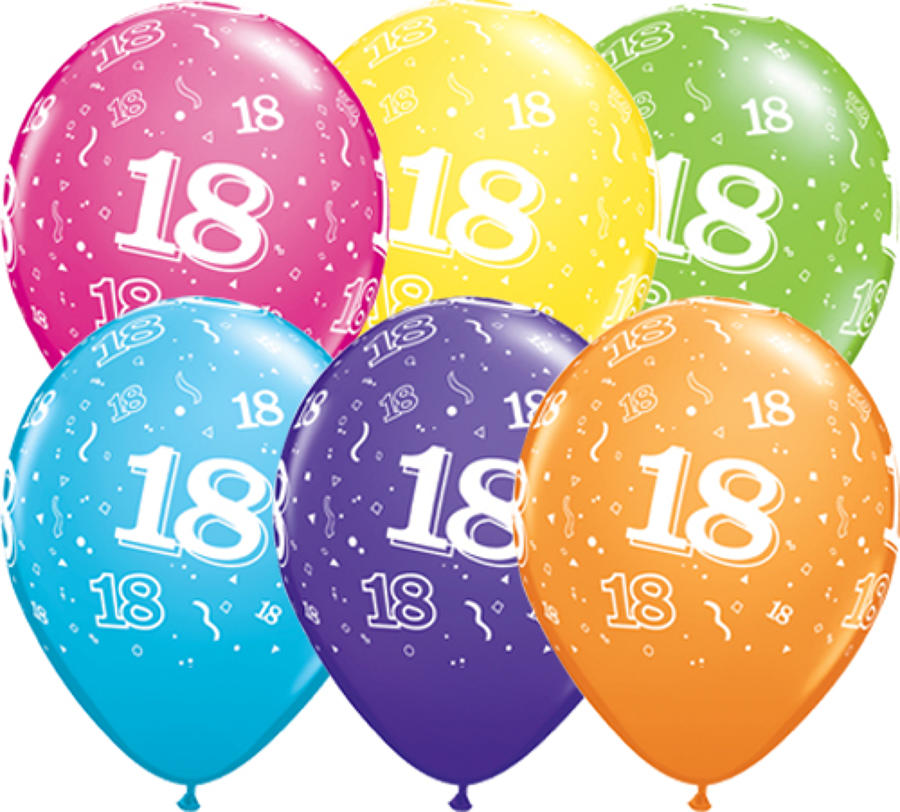 Age 18 latex balloons