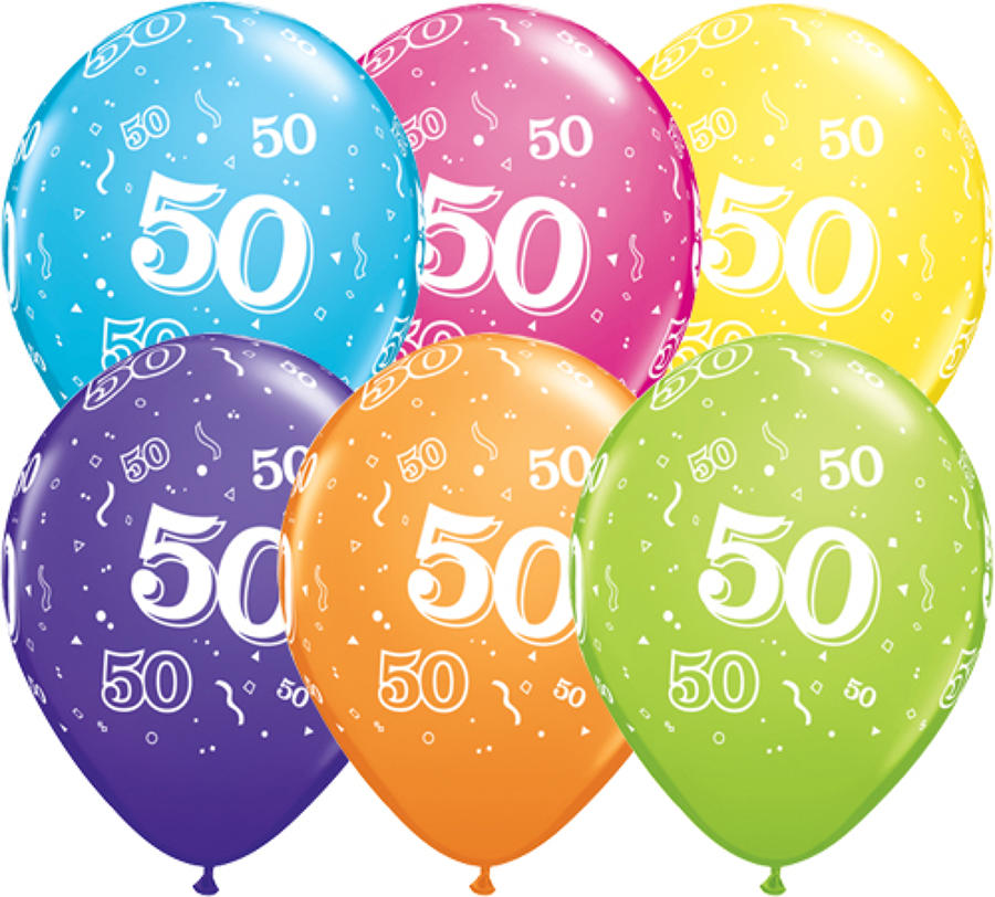 Age 50 latex balloons