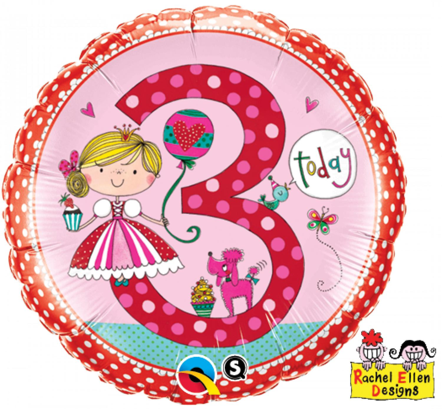 Age 3 princess foil balloon