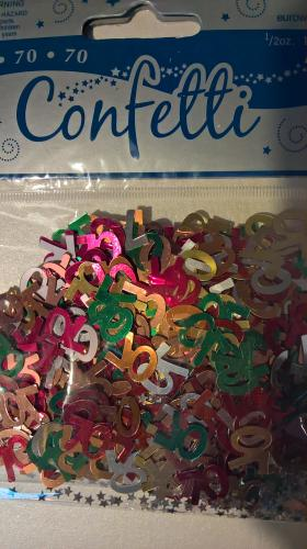 Age 70 multicoloured confetti