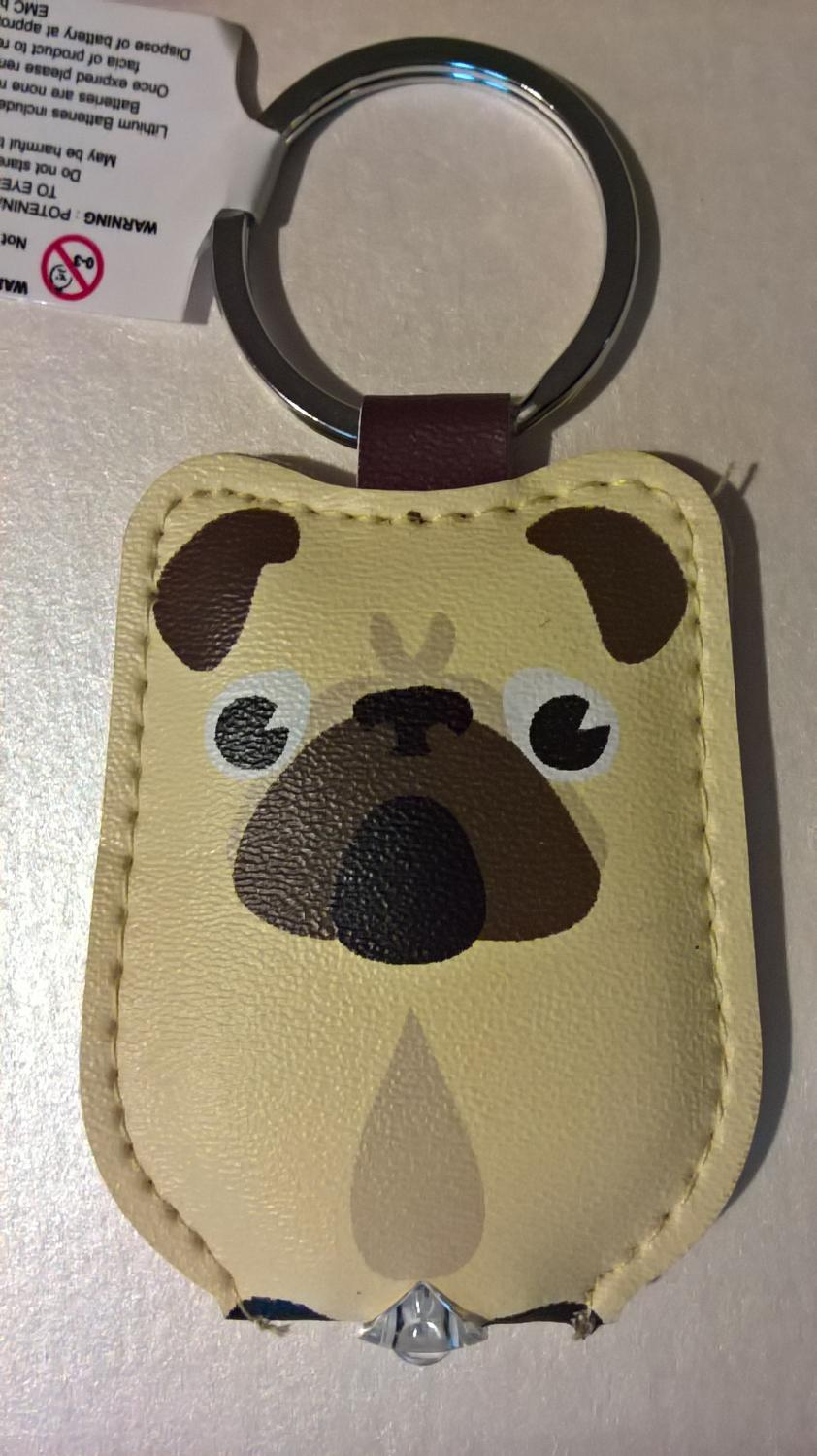 Light up keyring pug