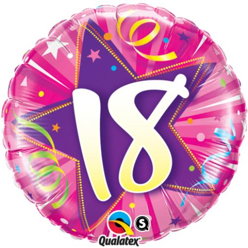 Age 18 pink foil balloon